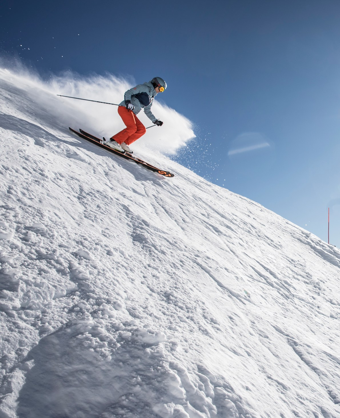 skiing down, in the resort