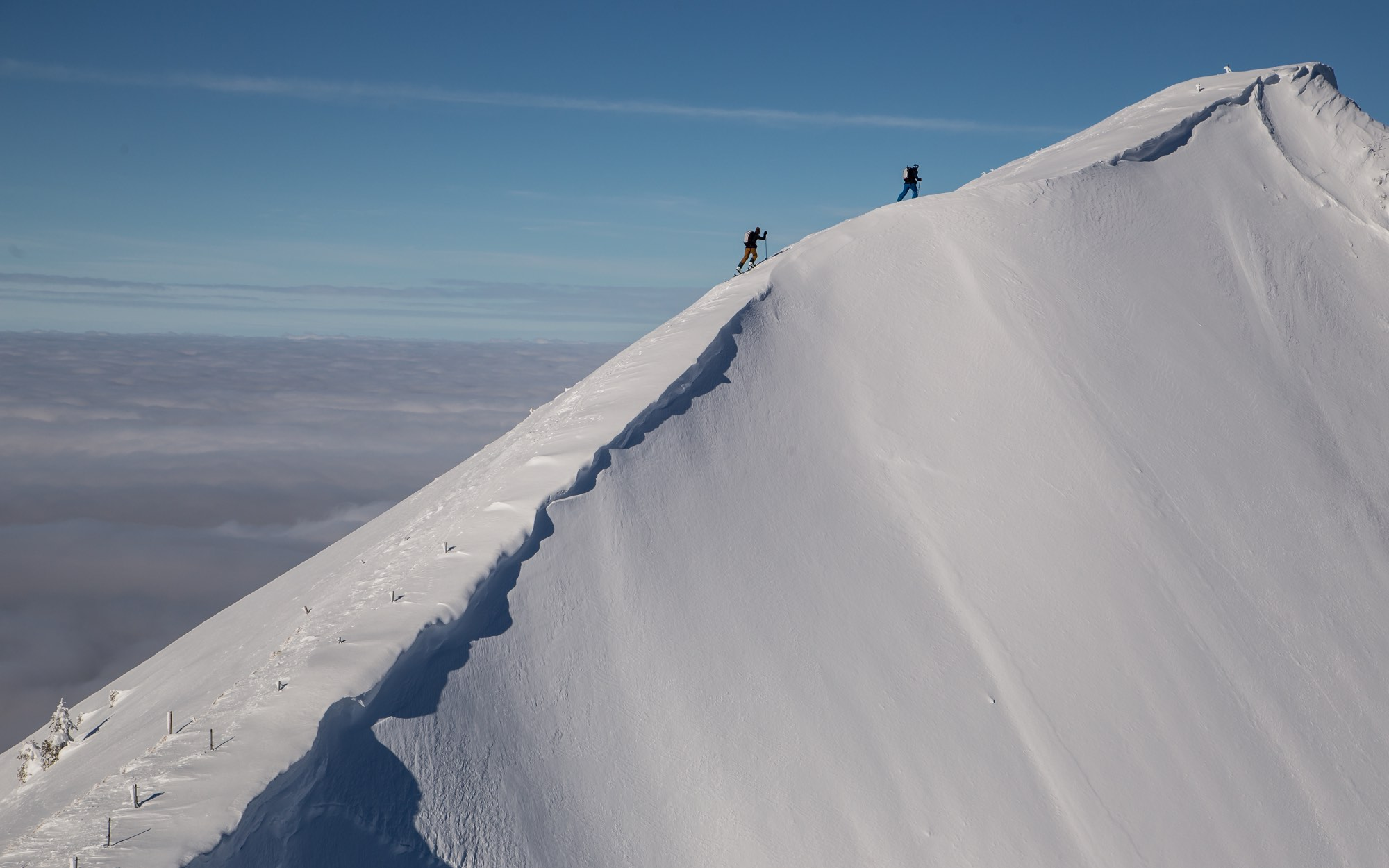 climbing to the top, on the ridge