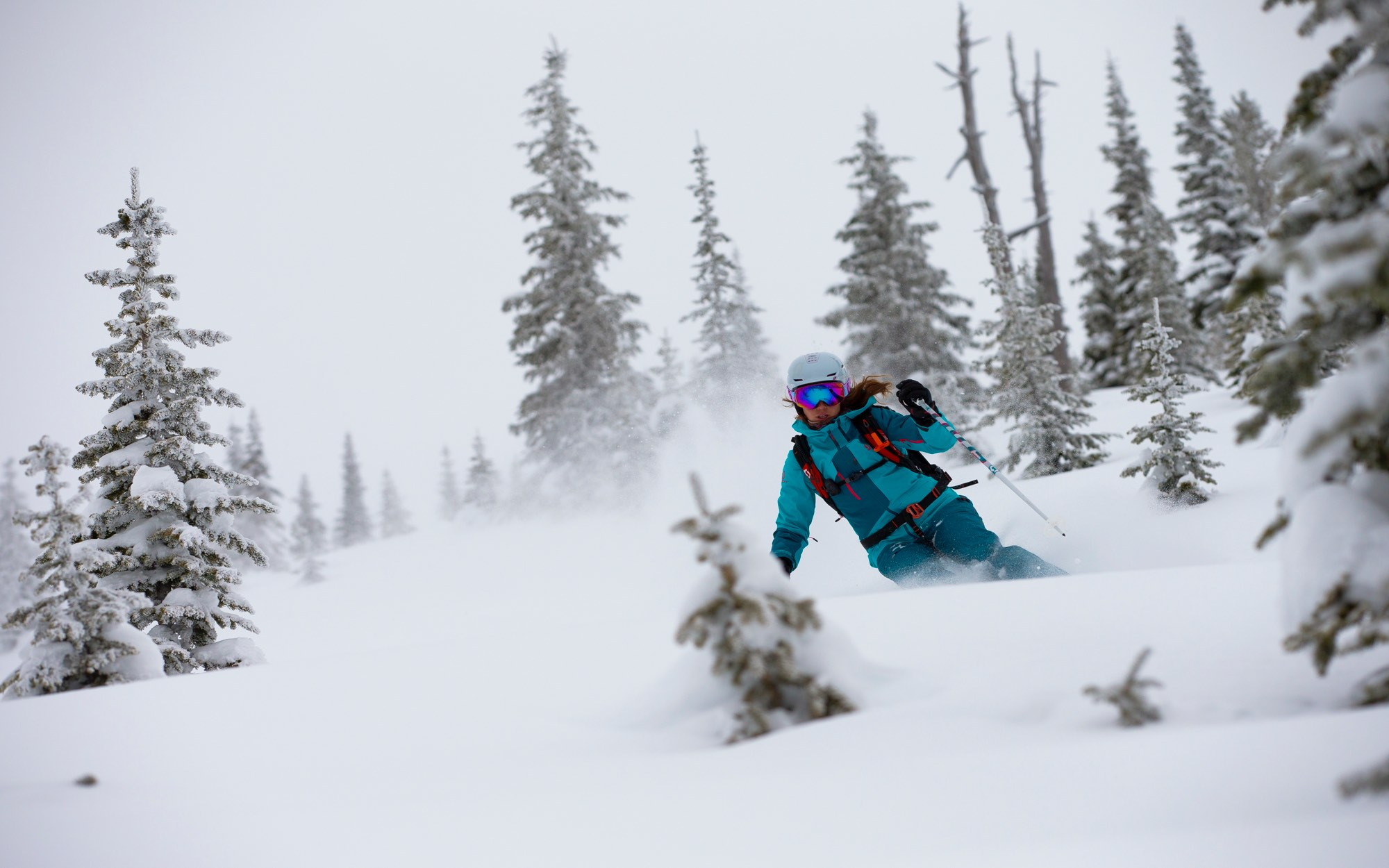 freeride woman in deep powder