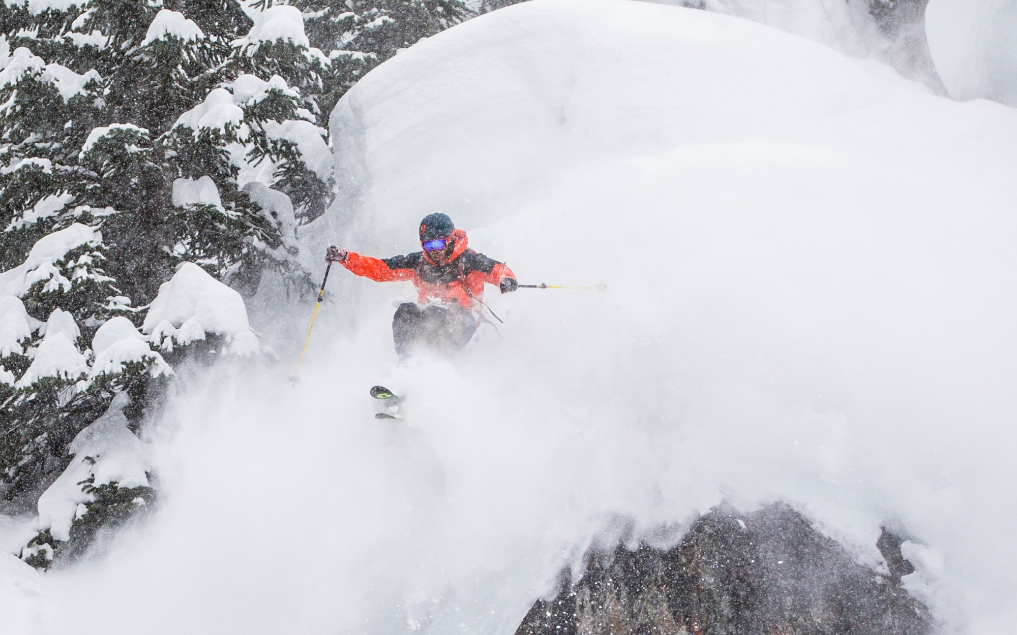 freeride man in deep pow